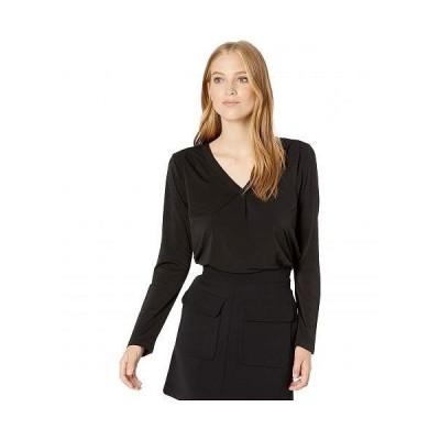 Michael Stars ミッシェルスターズ レディース 女性用 ファッション ブラウス Cambria Crepe Knit Lena Long Sleeve Shirt with Pleats - Black
