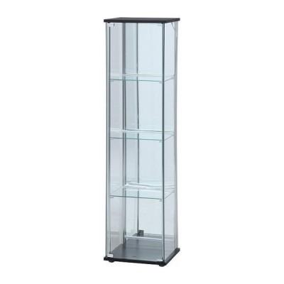 ガラスコレクションケース 4段 背面ミラー LED ブラック 幅42.5cm 奥行36.5cm 高さ162cm 代引不可