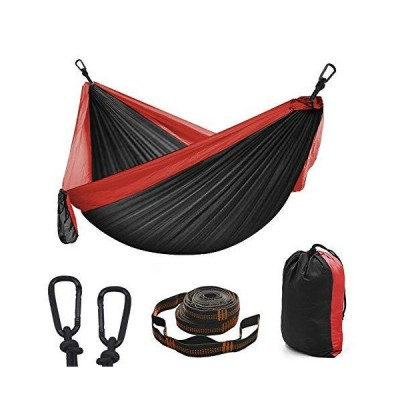 Diaosuw Double Hammocks,Camping Hammock with 2 Tree Straps and 2 Carabiners, Lightweight Nylon Parachute Portable Outdoor Hammock for Backpa