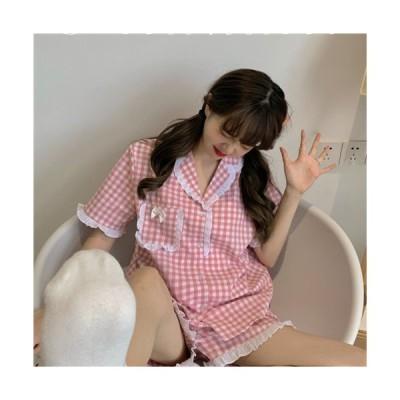 ニューモデル 格子 パジャマ ルームウェア 夏物 薄手 プリンセススタイル快適 可愛い おしゃれ レディース おとな シンプル