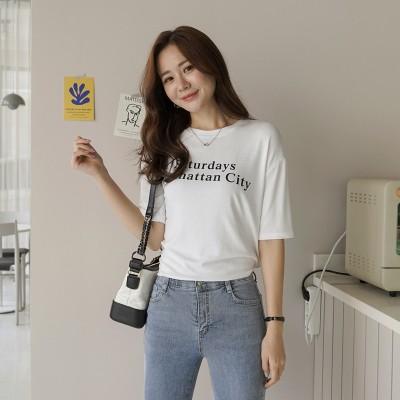 レタリング半袖Tシャツ [CLICKNFUNNY] 送料無料! 韓国ファッションNo1