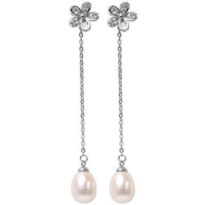 桜ホワイトパール ピアス 長さイヤリング 揺れる シルバーアクセサリー ジュエリー 淡水真珠 925 純銀製付属品 可愛い