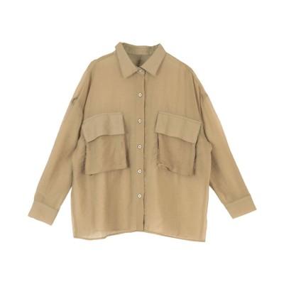 ティティベイト titivate ビッグポケットシアーワークシャツ (ベージュ)