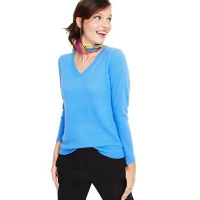 チャータークラブ レディース ニット&セーター アウター V-Neck Cashmere Sweater Larimar Blue