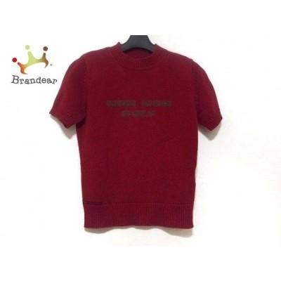 マドモアゼルノンノン 半袖セーター サイズM レディース レッド×ブラウン ハイネック   スペシャル特価 20200101