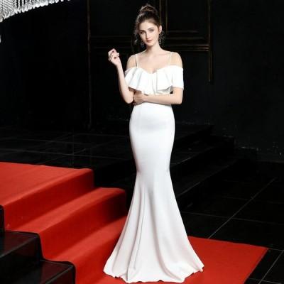 パーティードレスイブニングドレス可愛い安い結婚式ロングパーティー披露宴ドレス花嫁フリル綺麗め