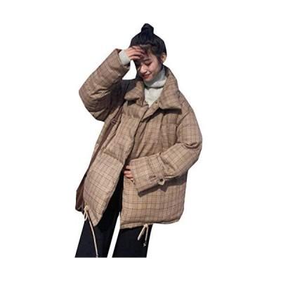 BeiBang(バイバン)中綿ジャケット レディース 立ち襟 ジャケット 綿入れ チェック柄 中綿コート ショート丈 厚手