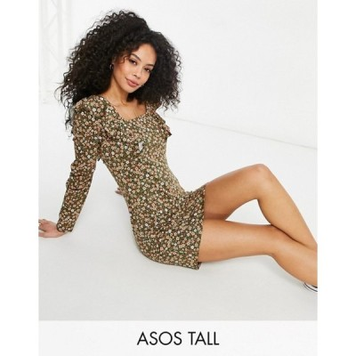 エイソス レディース ワンピース トップス ASOS DESIGN Tall mini long sleeve with frill detail dress in khaki base floral
