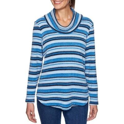 ルビーアールディー レディース Tシャツ トップス Petite Size Space Dye Striped Boucle Cowl Neck Long Sleeve Hi-Low Pullover
