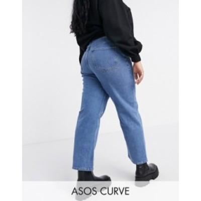 エイソス レディース デニムパンツ ボトムス ASOS DESIGN Curve high rise stretch 'slim' straight leg jean in mid wash Midwash