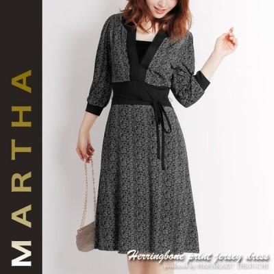MARTHA ワンピース マーサ ヘリンボーンプリントジャージーチュニックワンピース L・LLサイズ有 レディース ワンピース 16017