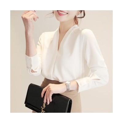 期間限定SALE ブラウス レディース ファッション オフィス 40代 30代 50代 Vネックシフォンロングスリーブブラウス OL きれいめスタイル