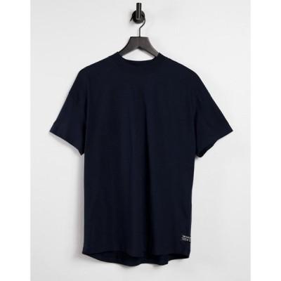 トムテイラー Tom Tailor メンズ Tシャツ トップス t-shirt with high neck in navy ネイビー