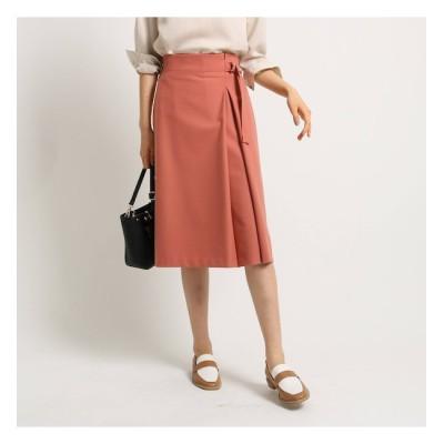 【インディヴィ/INDIVI】 [L]【マシンウォッシュ】ツイルラップ風スカート