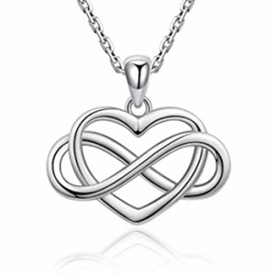 Infinity Love Heart Necklace - Sterling Silver Infinity Heart Pendant Necklace for Women and Girlfriends Valentine's Day, Annive