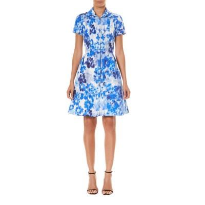 キャロライナヘレラ レディース ワンピース トップス Floral Print Short-Sleeve Shirtdress