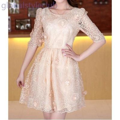 ワンピース 高級 刺繍 半袖 スリム ドレス 2色