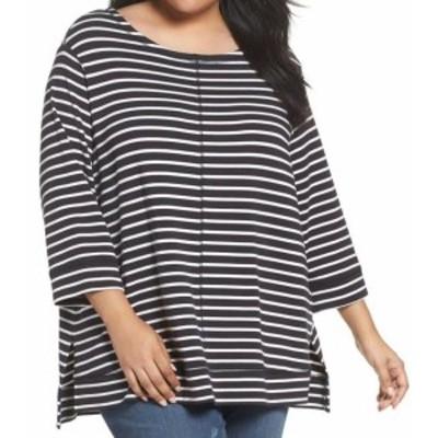 ファッション トップス Caslon NEW Black Womens Size 3X Plus Striped Scoop Neck Knit Top