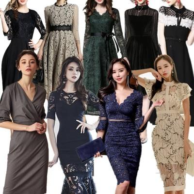 【送料無料】KOP(12/02秋新作追加)  韓国ファッション  欧米風ワンピース ドレス レトロ花柄  刺繍入りレース ミモレ丈 結婚式などのパーティーに♪一部日本国内即納可能