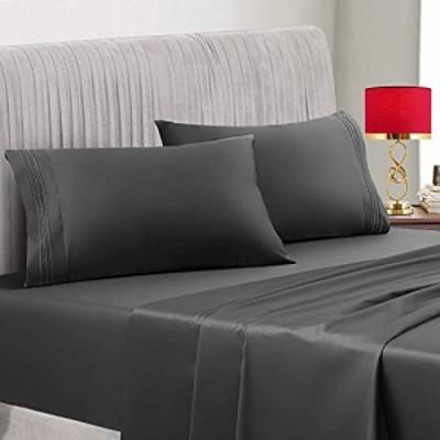 400TC 100 Cotton Sheets - Dark Grey Long-Staple Cotton King Sheets Set with Flat Sheet 14 Deep Pocket Fitted Sheet Pillow