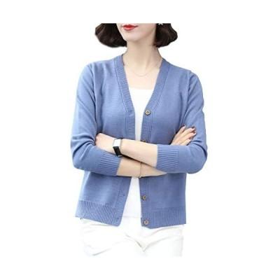[ジョプリンアンドコー] 5カラー vネックカーディガン カーディガン 素敵ボタン 模様編み ポケット 秋冬 レディース (ブルー S)