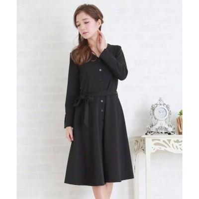 ドレス Vネックウエストリボン付きシンプルAラインワンピース・ドレス