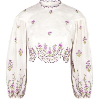 ジマーマン Zimmermann レディース トップス Poppy Floral-Embroidered Linen Top Purple