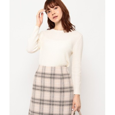 Couture brooch / ケーブルクルーネックニット WOMEN トップス > ニット/セーター
