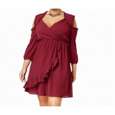 Monteau  ファッション ドレス Monteau NEW Red Womens Size 3X Plus Cold Shoulder Surplice Sheath Dress