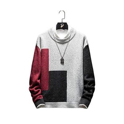 kiden セーター メンズ おおきいサイズ ニットセーター クルーネック カットソー 丸首 暖かい 長袖 防寒 トップス カジュアル 大きいサイズ