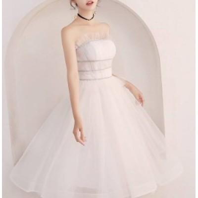 パーティードレス ウエディングドレス 春夏 結婚式 花嫁 マリアージュ ホワイト 大きいサイズ ひざ下丈 ミモレ丈 チューブトップ 袖なし