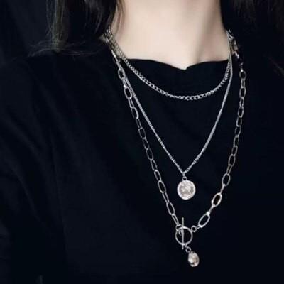 ボールコイン3連 シルバー ネックレス 韓国 大人気 男女兼用 長さ:50cm 60cm