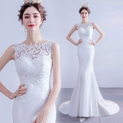 ホワイトドレス ノースリーブ マーメイドドレス トレーン レース サテン ドッキング お洒落 ウェディングドレス 背開き 結婚式ドレス 花