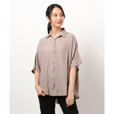 シャツ ブラウス 【ゆったりシルエット】プレーン ビッグ半袖シャツ
