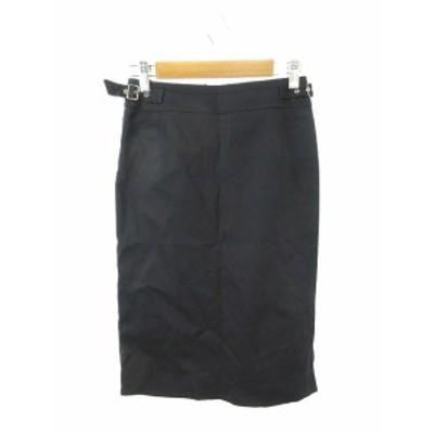 【中古】イネド INED スカート タイト ロング ミモレ ベルト ジップフライ 7 紺 ネイビー /NN5 レディース
