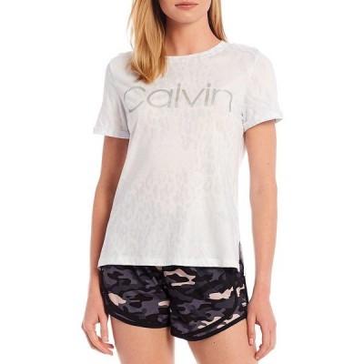 カルバンクライン レディース Tシャツ トップス Performance Animal Transform Print Calvin Logo Rolled Cuff Side Vent Tee White
