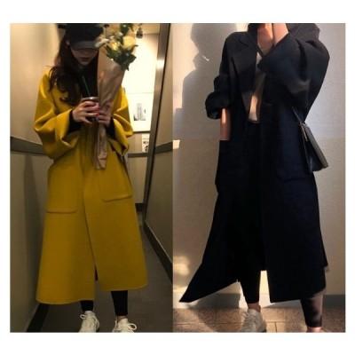 全2色 ロングコート ログ丈 切り替え 体型カバー 着痩せ シンプル