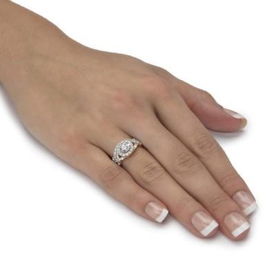 18k Gold over .925 Silver White Cubic Zirconia 2 Piece Round Halo Wedd