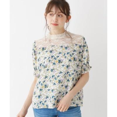 シャツ ブラウス 【M-L】花柄×レース切り替えパフ袖ブラウス