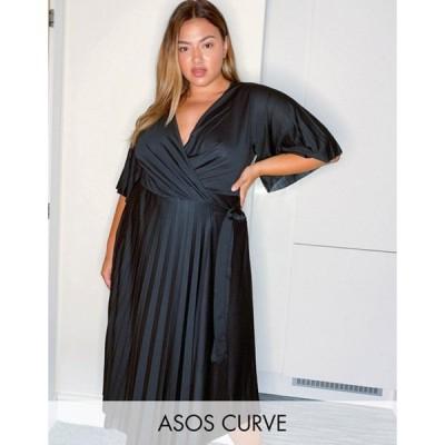 エイソス レディース ワンピース トップス ASOS DESIGN Curve kimono sleeve pleated wrap midi dress with tie waist in black