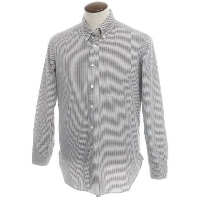 バグッタ Bagutta ストライプ柄 コットン ボタンダウンシャツ ベージュ×グレー×ホワイト 3