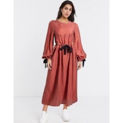 エイソス レディース ワンピース トップス ASOS DESIGN premium casual drawstring waist midi dress with herringbone ties in terracot