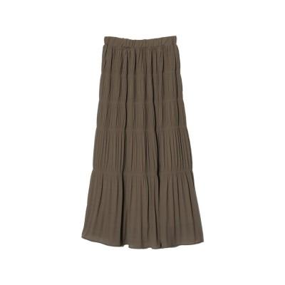 リエディ Re:EDIT [お家で洗える][低身長向けSサイズ対応]ギャザーティアードマキシスカート (モカ)