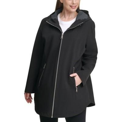 カルバンクライン コート アウター レディース Plus Size Hooded Raincoat Black/Grey