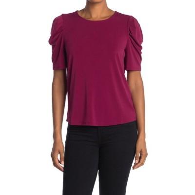 アドリアナ パペル レディース Tシャツ トップス Pleat Sleeve Solid Knit Moss Crepe Top BRGNDY GLW