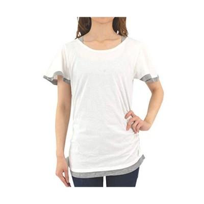 [プチハピ] 重ね着 風 やわらか コットン 綿 100% 楽ちん 素材 Tシャツ カットソー 半袖 レイヤード レディース 女性 女 女の子 (WK