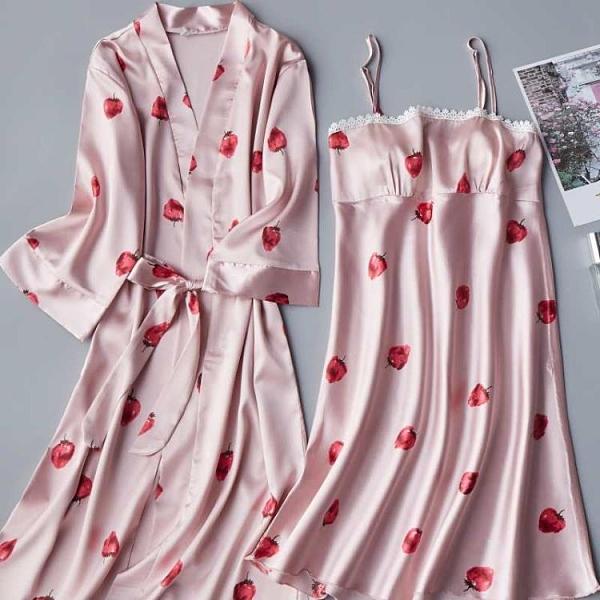 睡裙冬季薄款睡衣女性感吊帶兩件套睡袍冰絲綢甜美大碼睡裙女春秋 安雅家居館