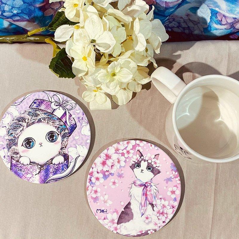 ~好喵~陶瓷吸水杯墊 - 紫色禮物貓 / 櫻花美人貓