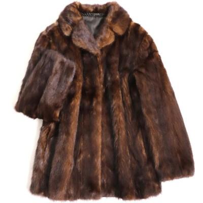 極美品▼MINK ミンク 本毛皮コート ダークブラウン 毛質艶やか・柔らか◎