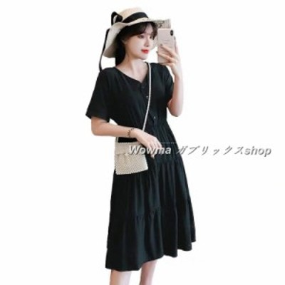 女 ワンピース 韓流 大きいサイズ 新品 Vネック 夏 2020 ワンピース 半袖 シルエット 大きいサイズ 編上げ ゆったり